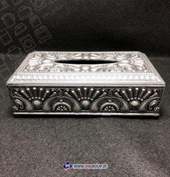 فروش عمده جعبه دستمال كاغذی کلاسیک نقره ای